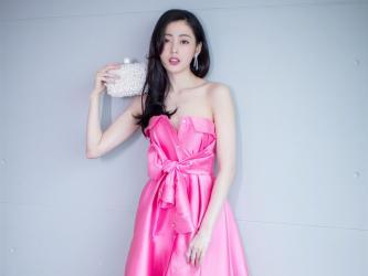 张天爱粉色抹胸礼服写真高清桌面壁纸_高清桌面壁纸